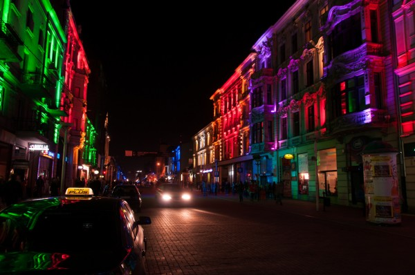 Piotrkowska Street in Lodz at night
