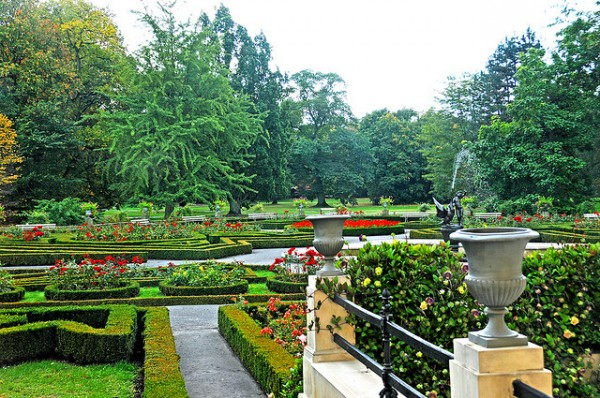 The garden of the Wilanow Palace in Warsaw