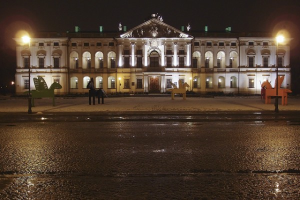 The Krasinski Palace at night