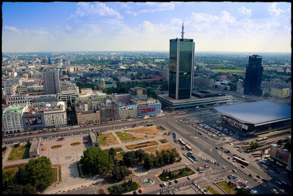 The city of Warsaw in Poland