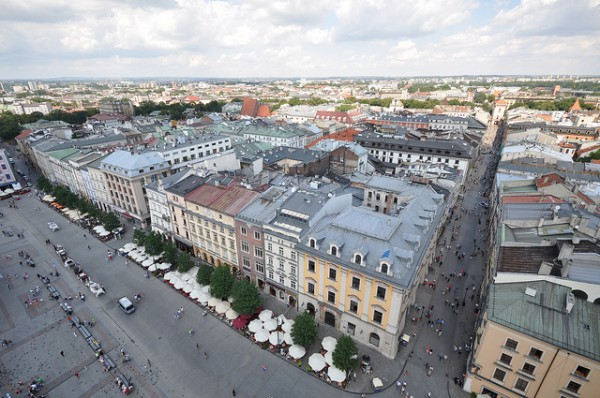 The Main Square in Krakow with the Bonerowski Palace