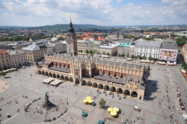 The Main Square in Krakow with the Krzysztofory  Palace