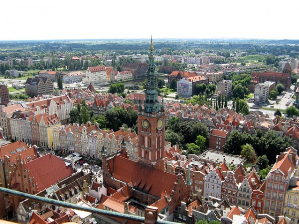 The City Hall of Gdansk from the church tower
