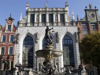 The Monument of the Fallen Workers and the Fountain of Neptune in Gdansk