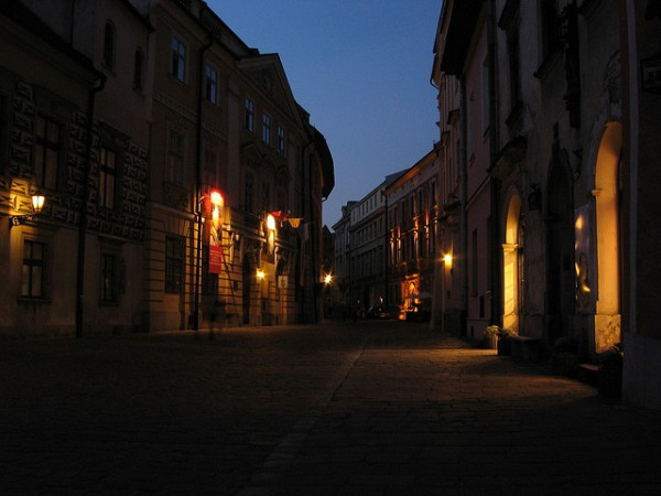 Streets of Krakow at night