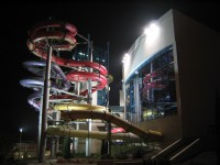 The Aqua Park in Krakow at night