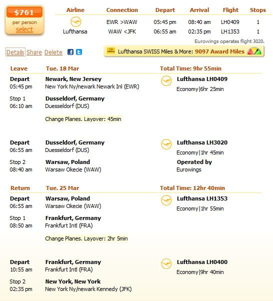 Lufthansa flight from New York to Warsaw details